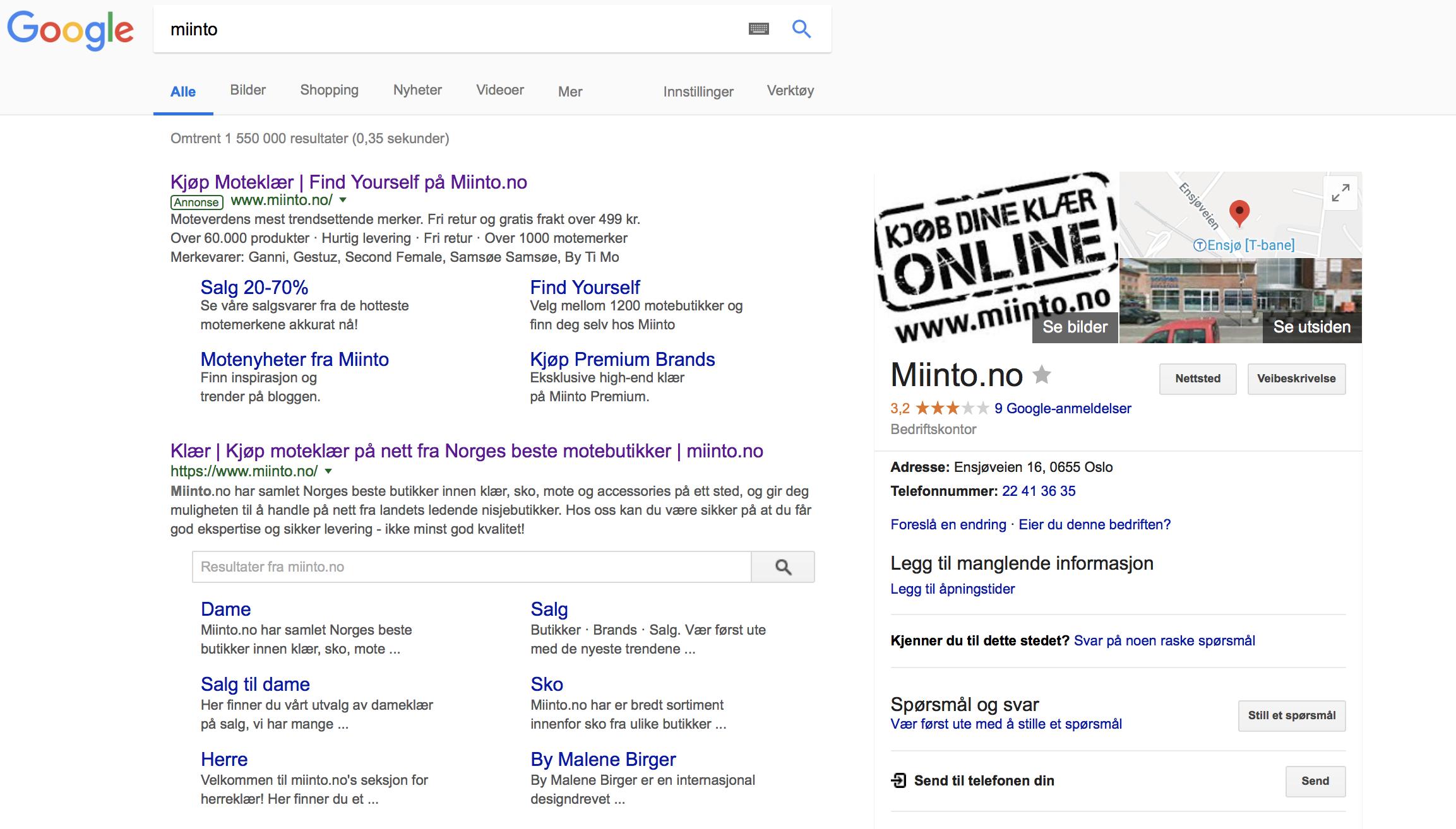 0050d303 Vurdering av nettbutikken Miinto | DIG2100 (2102)