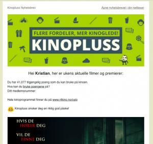 Personliggjort e-post fra kinopluss