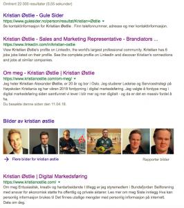 Googlesøk på Kristian Østlie
