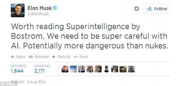 Bilderesultat for elon musk ai warning