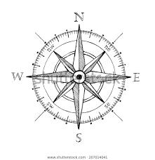 Hånd trukket kompass vind rose symbol Arkivillustrasjon 207014041