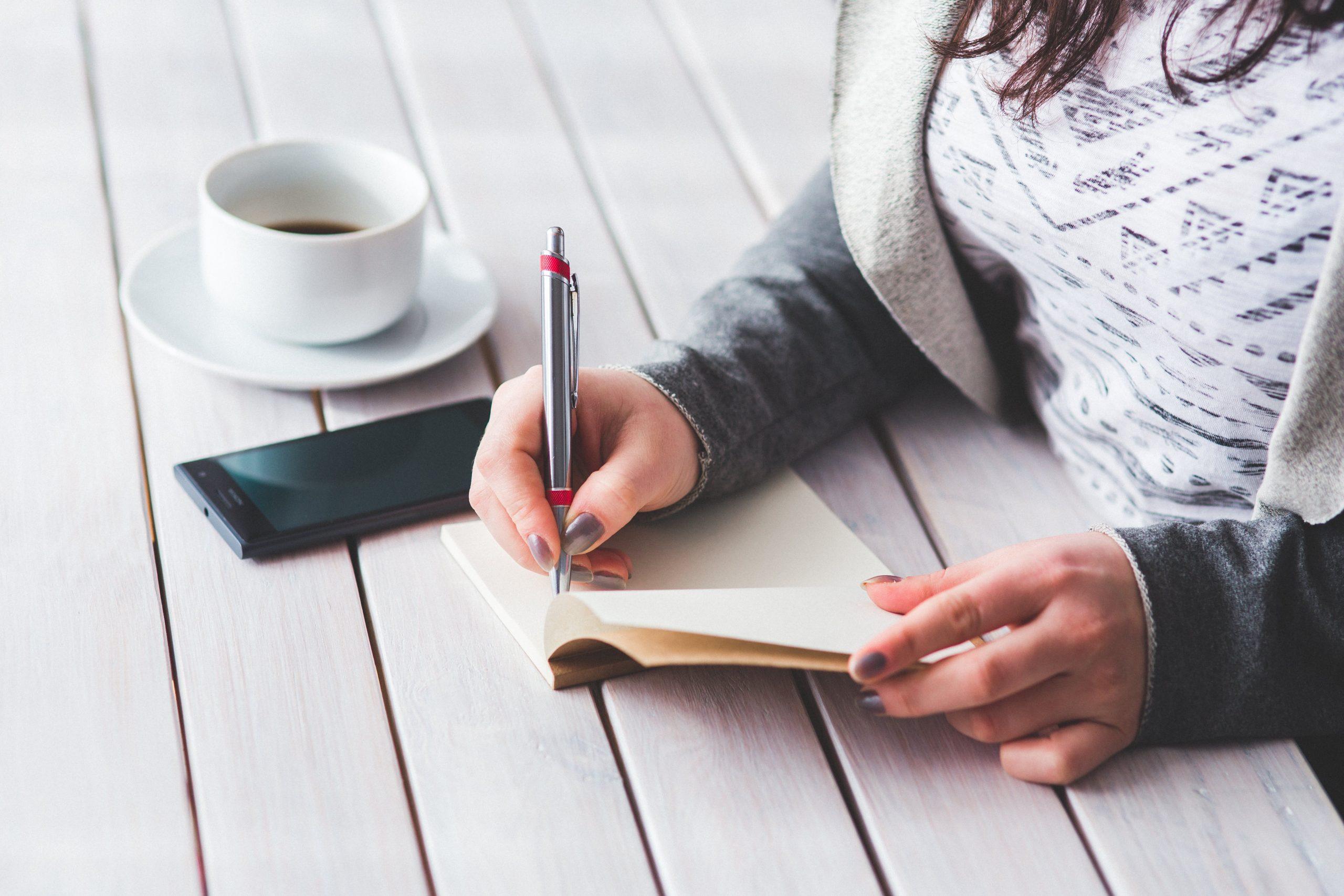 hender, journal, kaffe