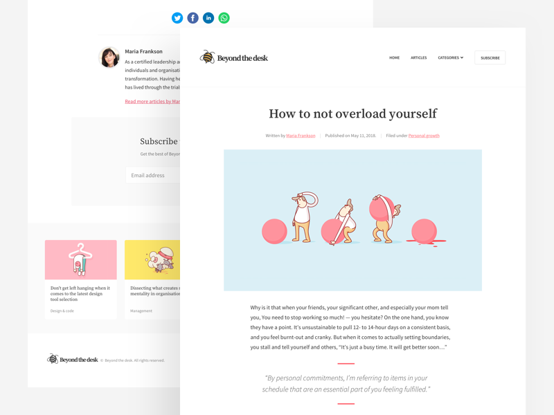 Minimalist blog concept by Alex Dixon for Riot & Rebel on Dribbble