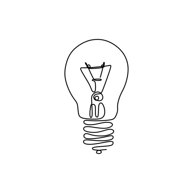 One Line Drawing Light Bulb Symbol Idea And Creativity Isolated On ...
